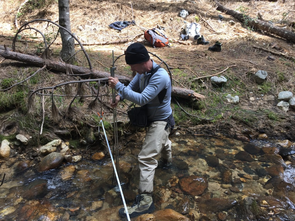 Brennan Johnston measuring stream flow to assist in SYRCL's mine studies. Join the River First Responders Team to help with this effort!